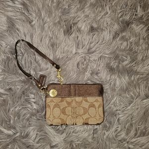 Coach Signature Wristlet - Brown